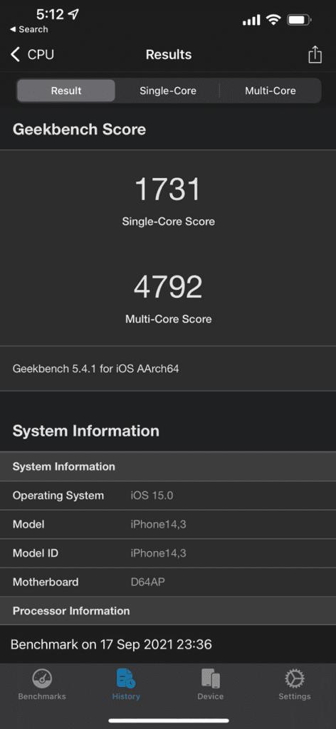 Les scores Geekbench de l'iPhone 13 Pro Max